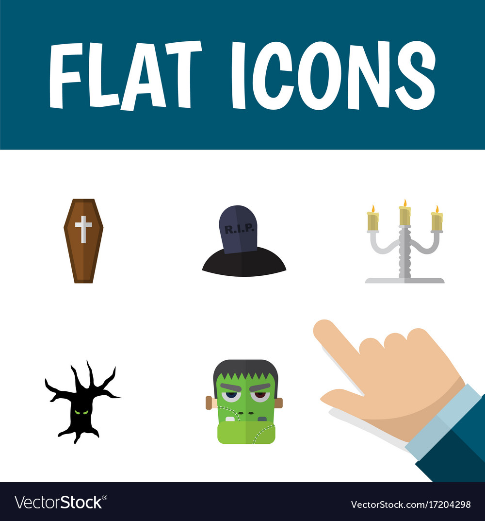 Flat icon celebrate set of monster tomb terrible