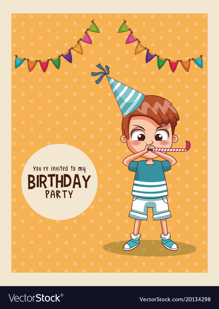 Excellent Kids Birthday Party Card Invitation Royalty Free Vector Funny Birthday Cards Online Fluifree Goldxyz