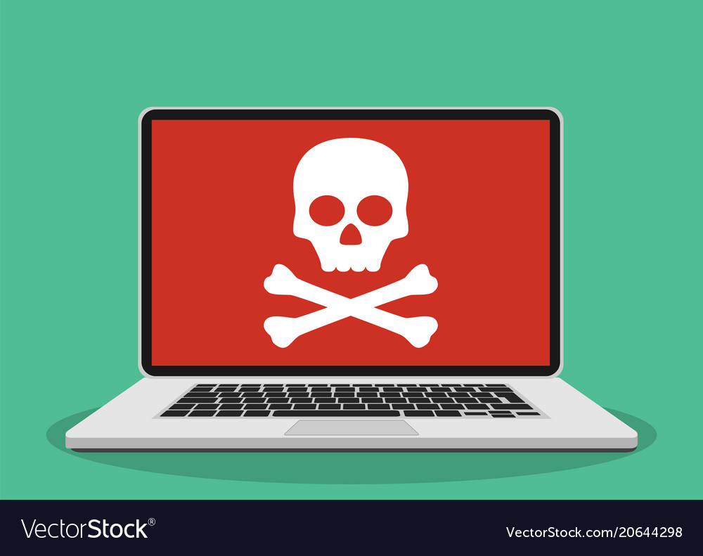 Laptop with skull on the screen