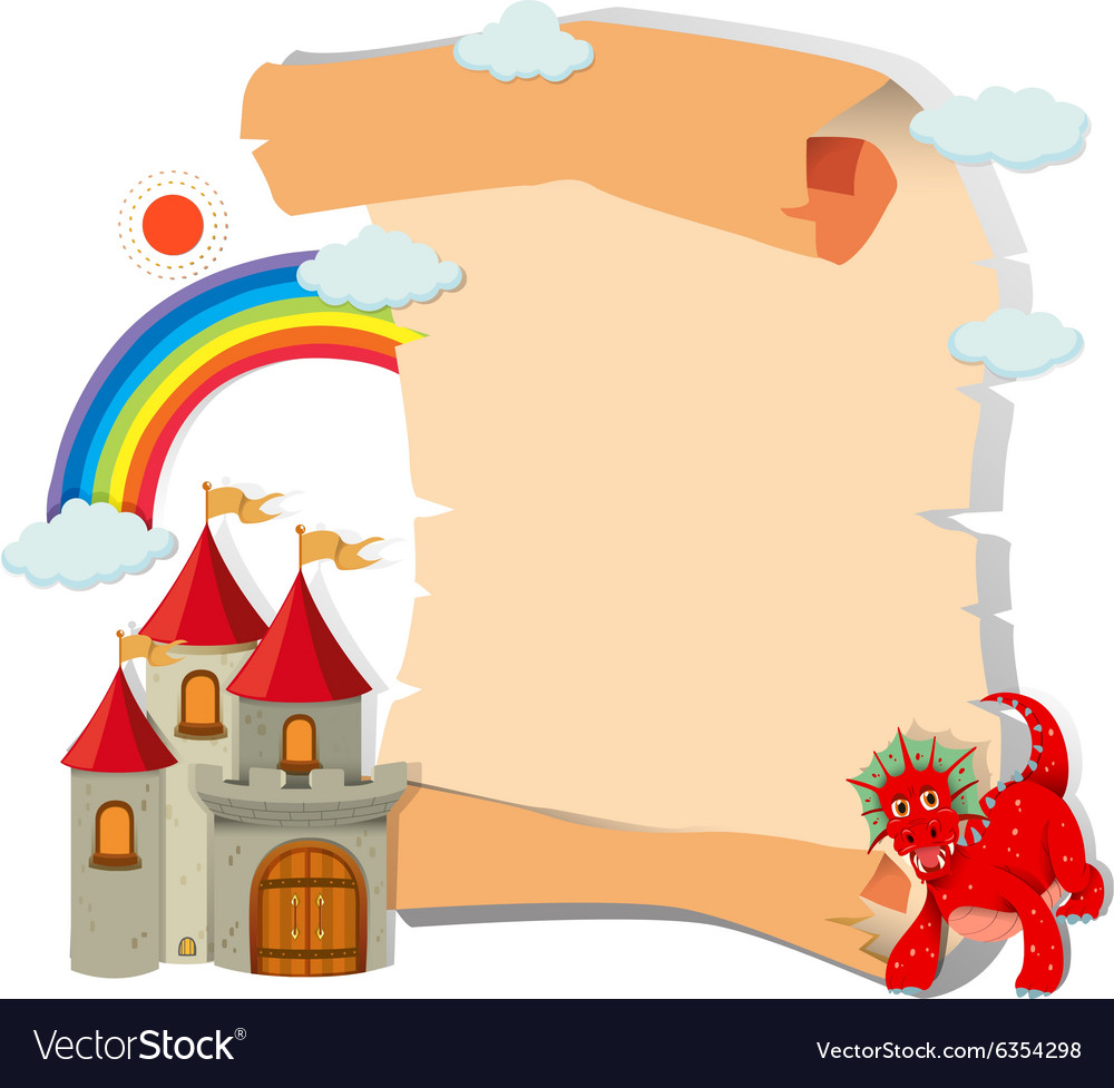 Paper design with dragon and castle vector image
