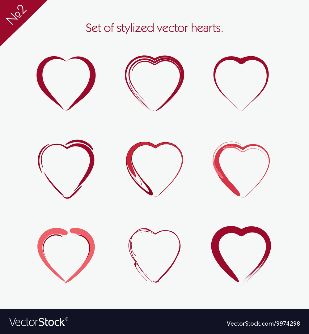 Set of abstract icons hearts