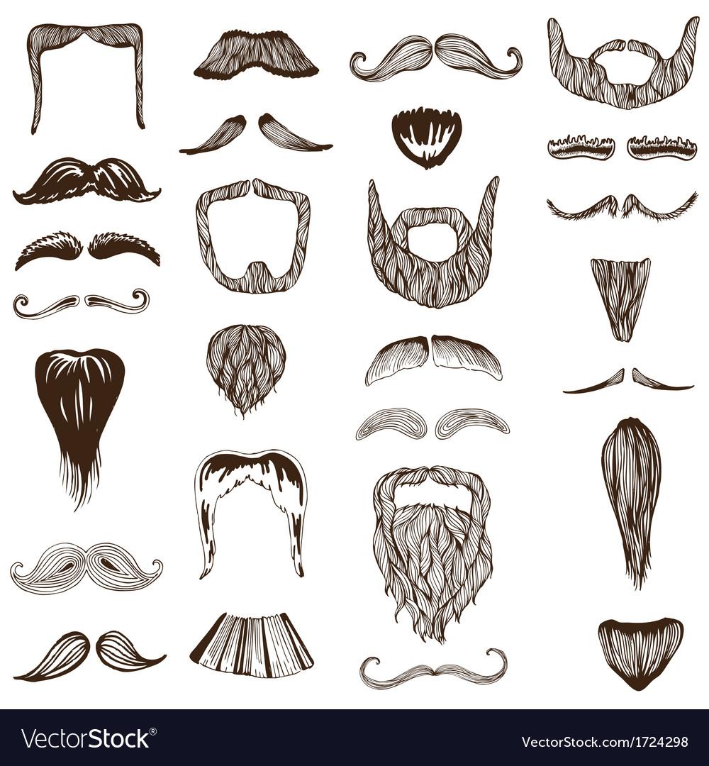 Set of hand drawn Moustache Mustache