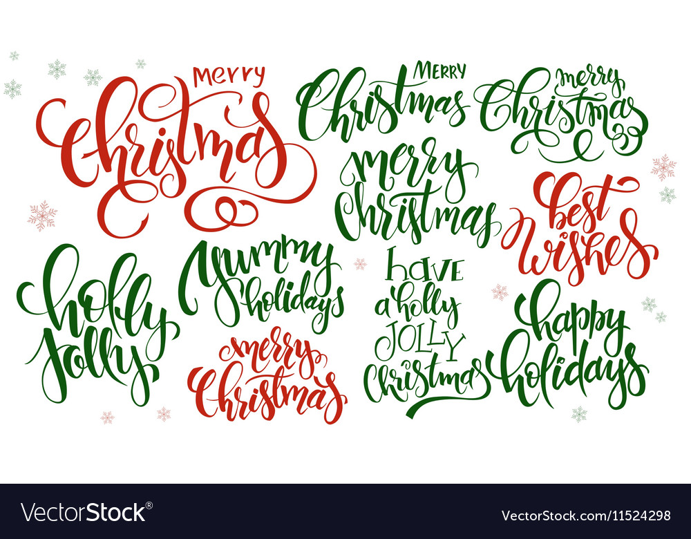 Christmas Quotes And Graphics: Set Of Hand Lettering Christmas Quotes Royalty Free Vector