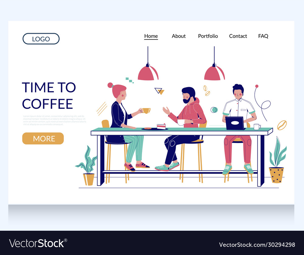 Time to coffee website landing page design vector
