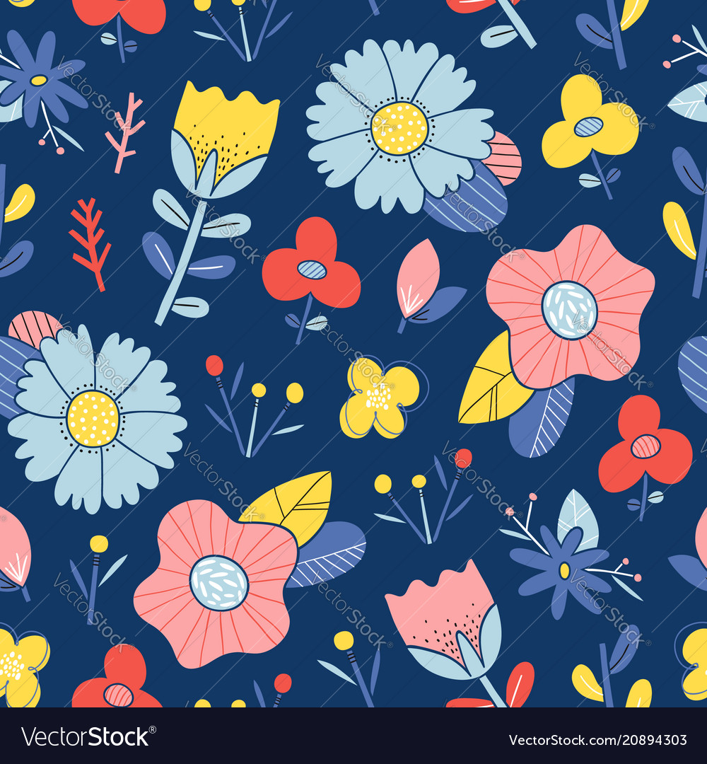 Abstract happy flowers blue background pattern