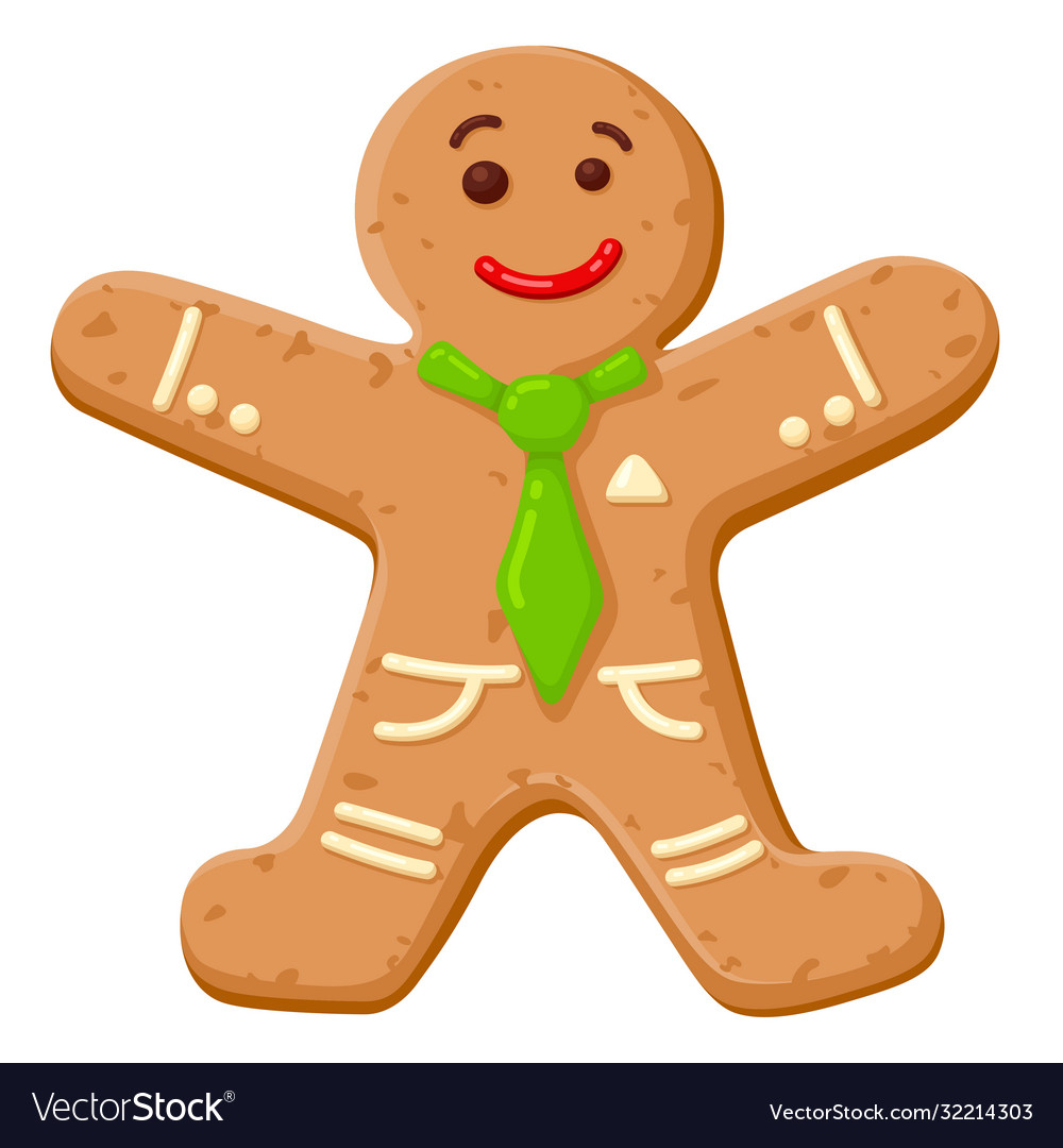 Christmas oatmeal cookie in shape smiling human