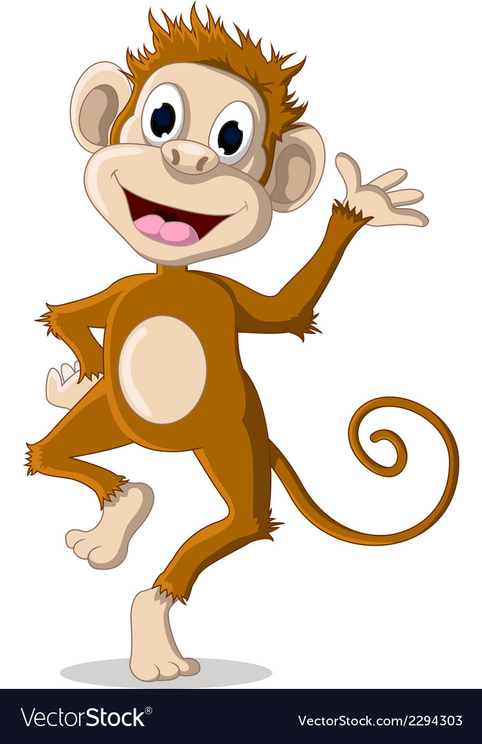 Cute monkey cartoon posing