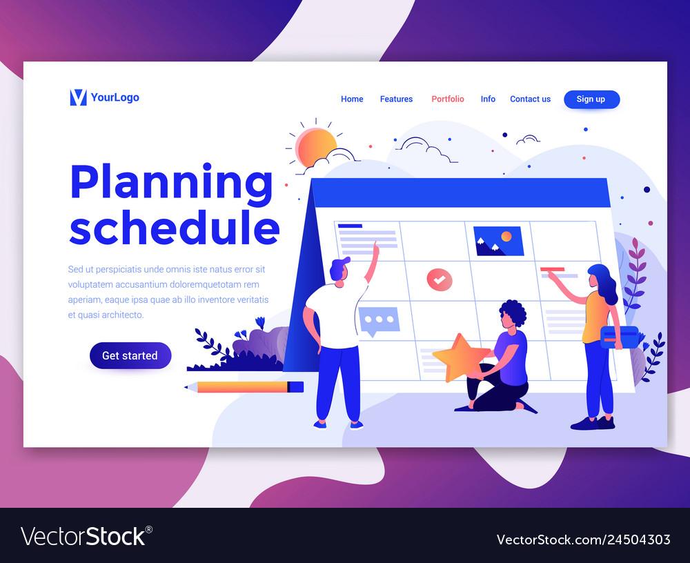 Flat modern design of wesite template - planning