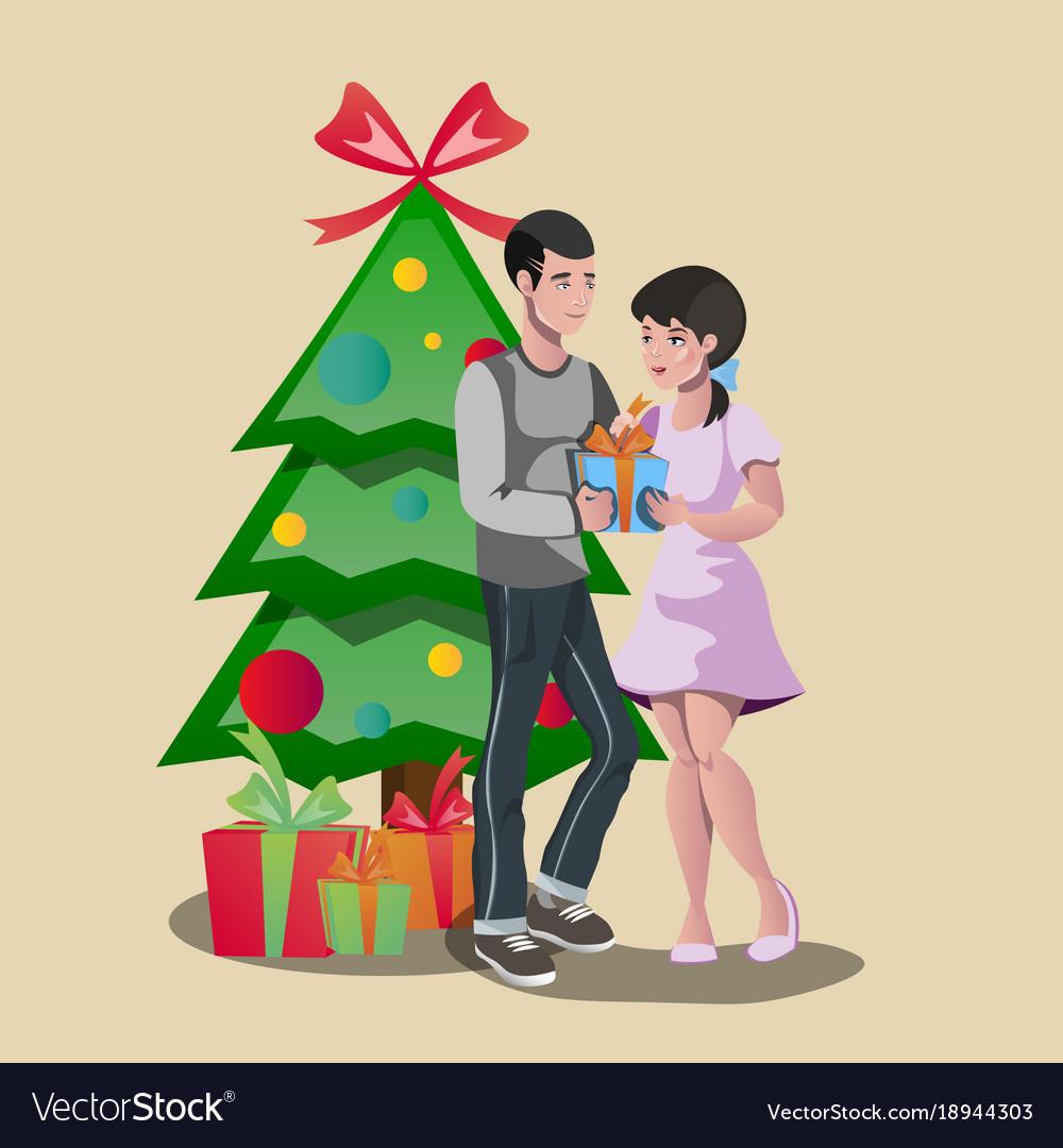 Family Christmas Gift Giving.Happy Family Giving A Christmas Gift