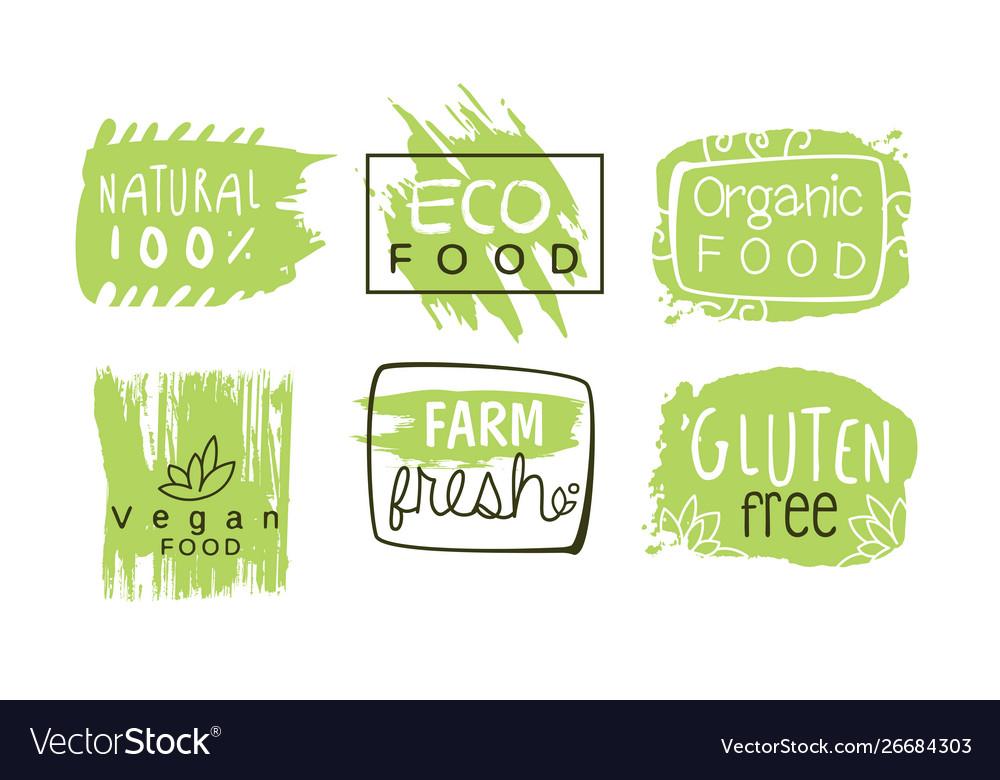 Healthy organic natural farm food labels templates