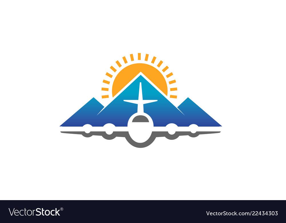 Mountain airplane creative air design logo