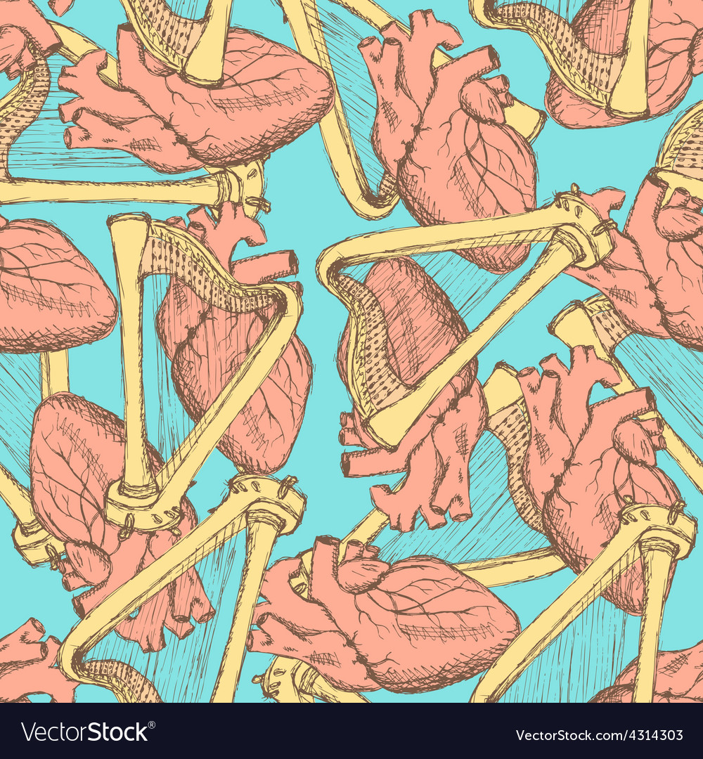 Sketch heart and harp in vintage style vector image