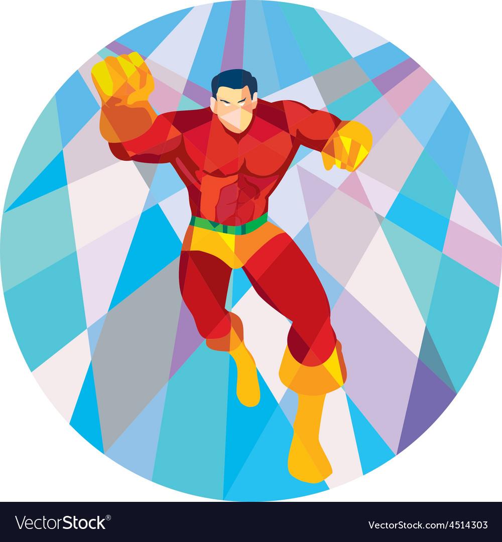 Superhero Running Punching Low Polygon