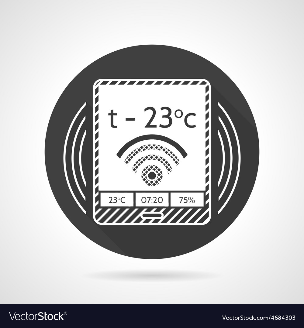 thermostat black round icon royalty free vector image