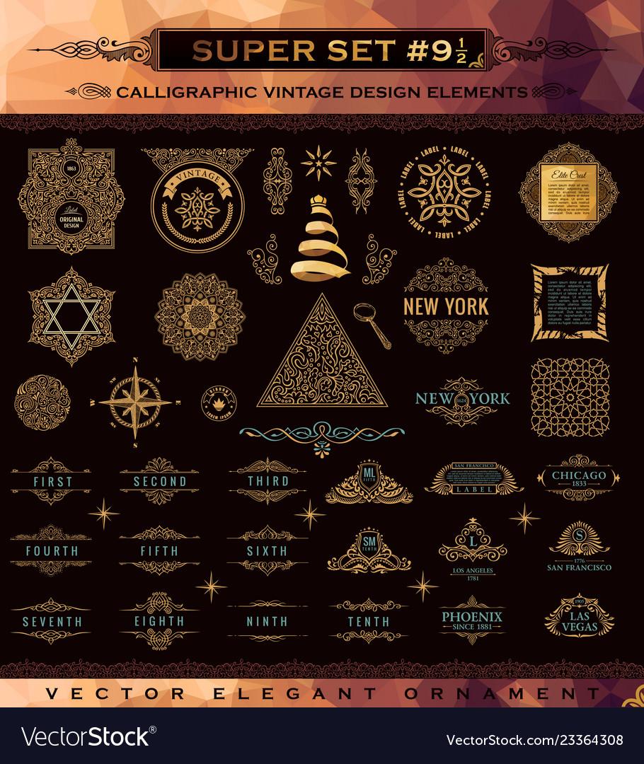 Calligraphic emblems set vintage crest gold