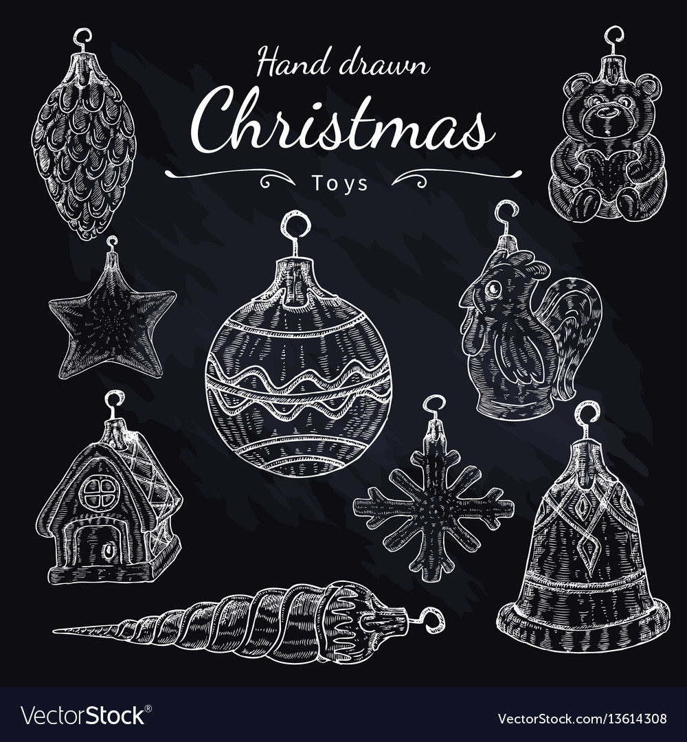 Christmas toys set on chalkboard hand drawn