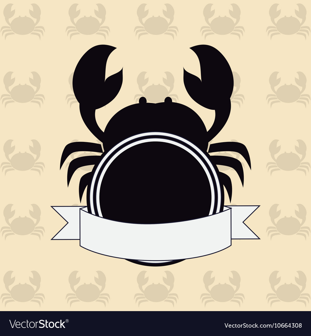 Crab nautical emblem vector image