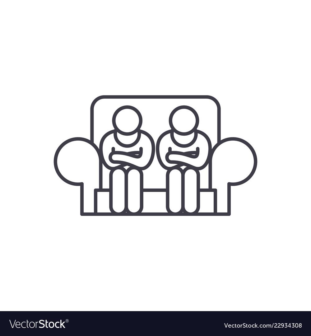 Customer service line icon concept customer