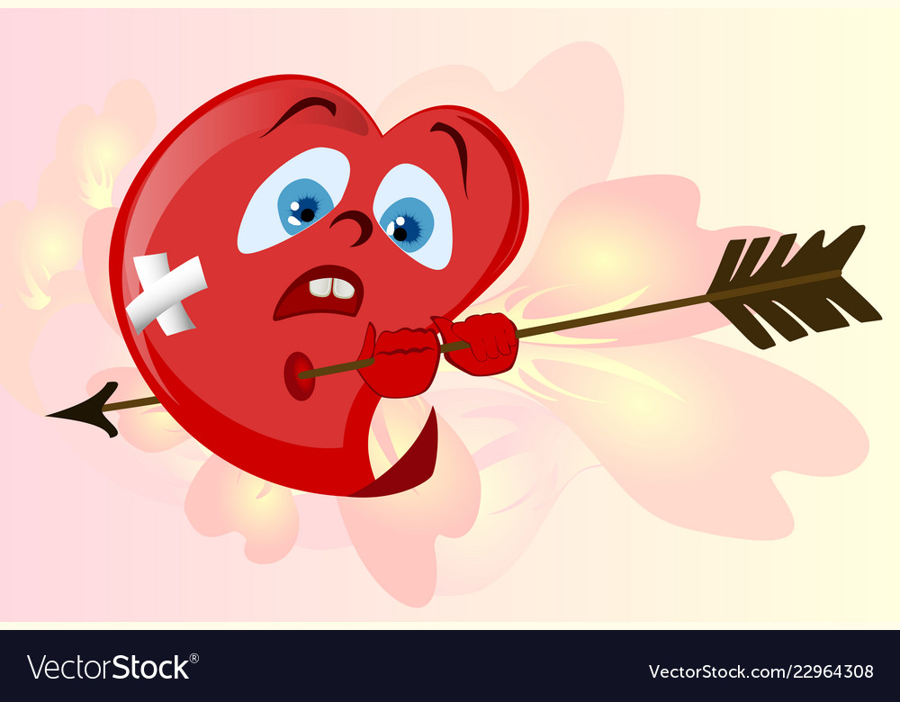 Funny Red Heart To Valentines Day Emoji Eps10 Vector Image