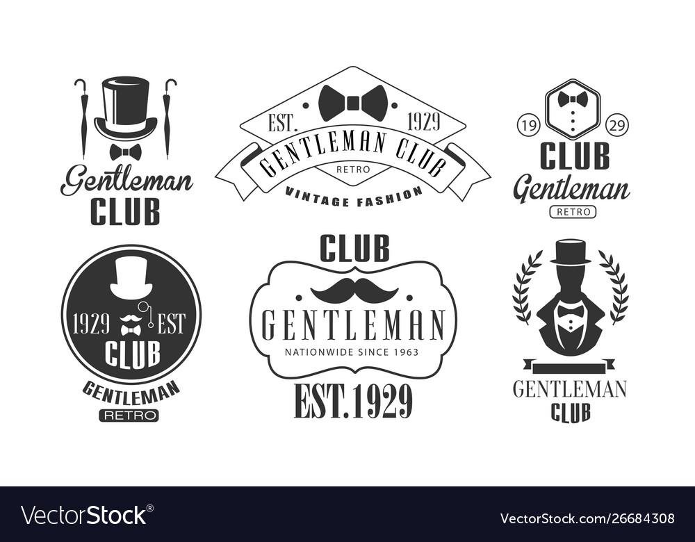 Gentleman club vintage logo templates set retro