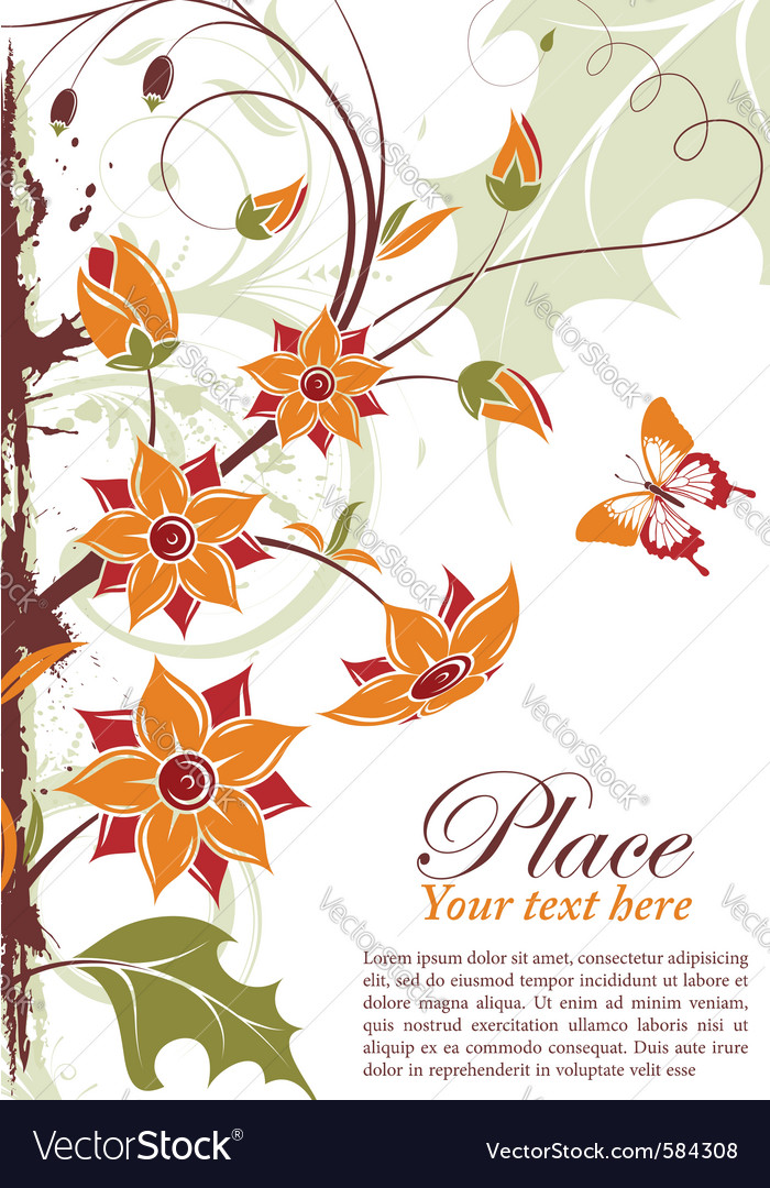 Grunge floral frame with butterfly element for des