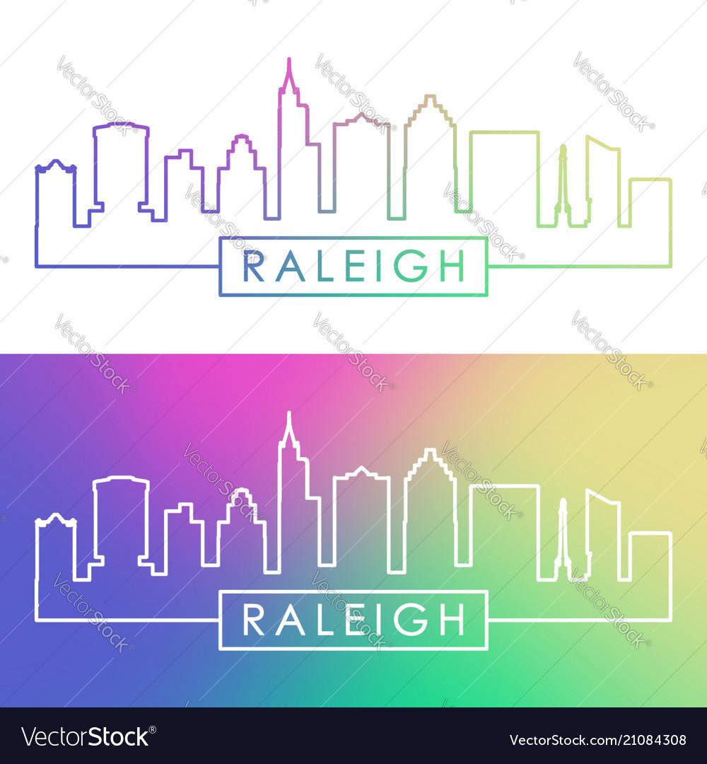 Raleigh skyline colorful linear style editable