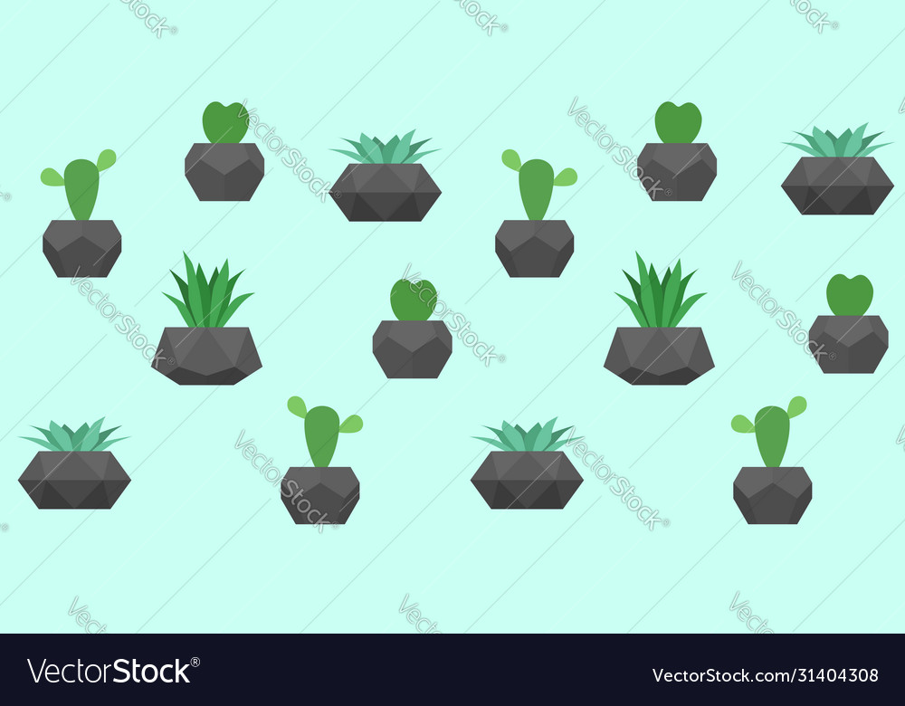 Seamless pattern with cactuses and
