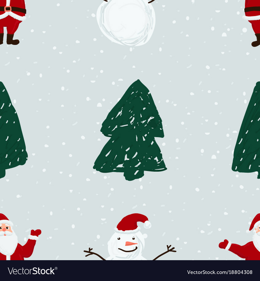 Seamless pattern with santa snowmen and christmas
