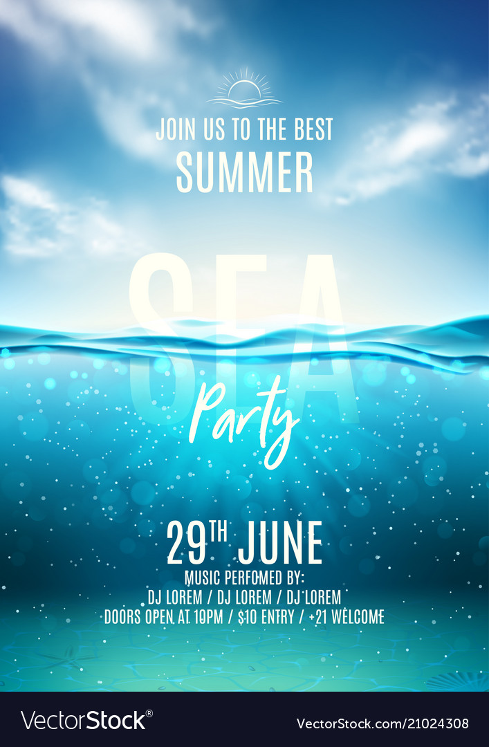 Summer sea party poster template