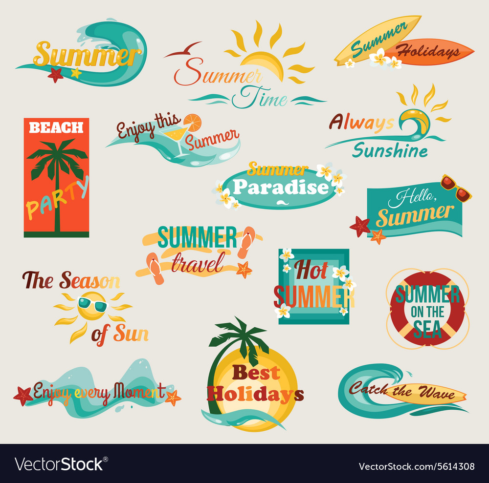 Summer typographical elements for design retro