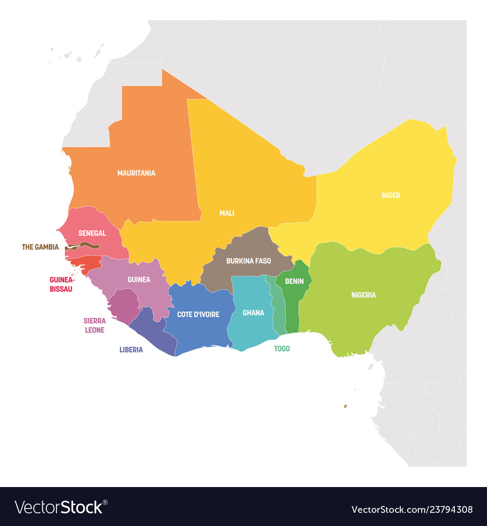 Countries Of West Africa Map.West Africa Region Colorful Map Of Countries In