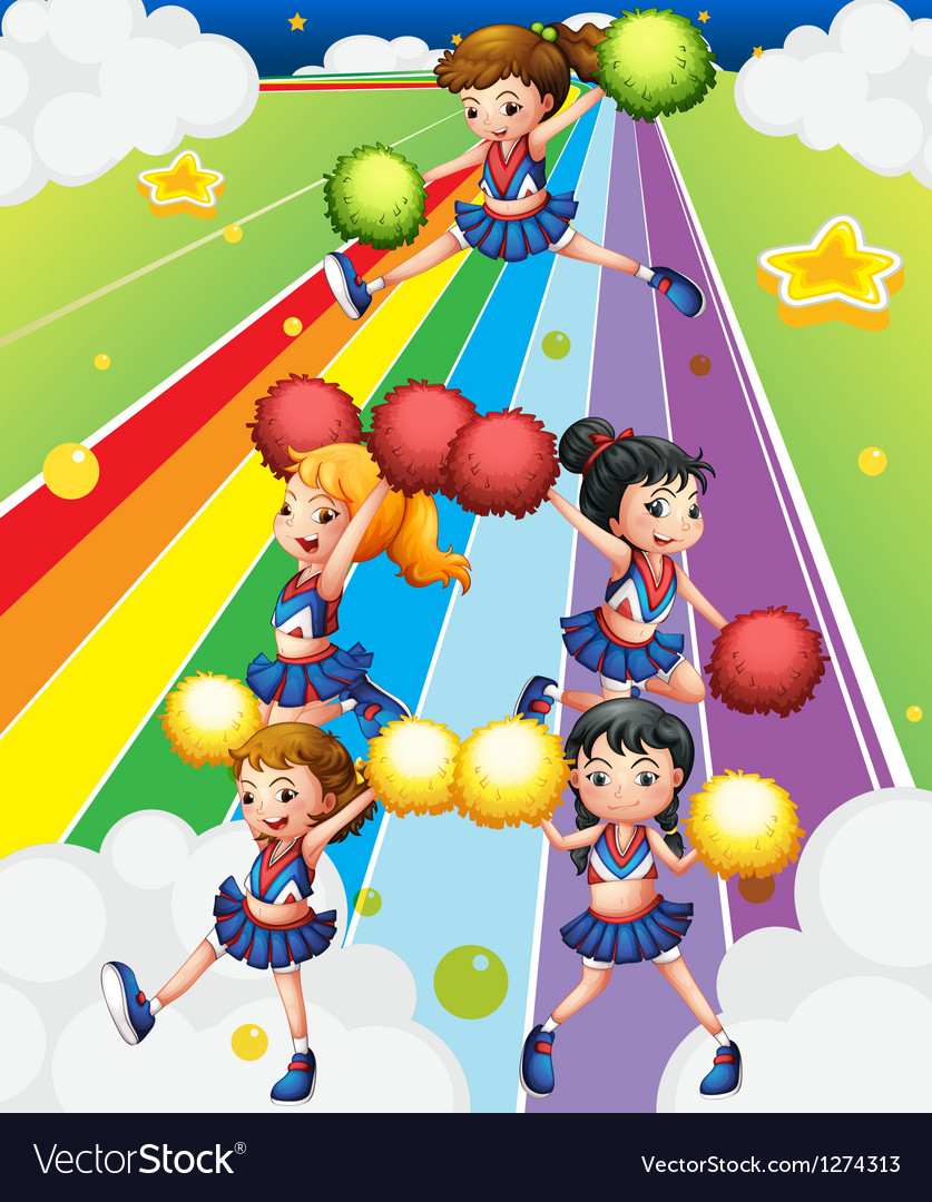 A cheering squad at the colorful street vector image