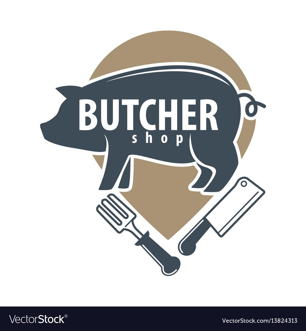 Butcher shop logo emblem with pig on white