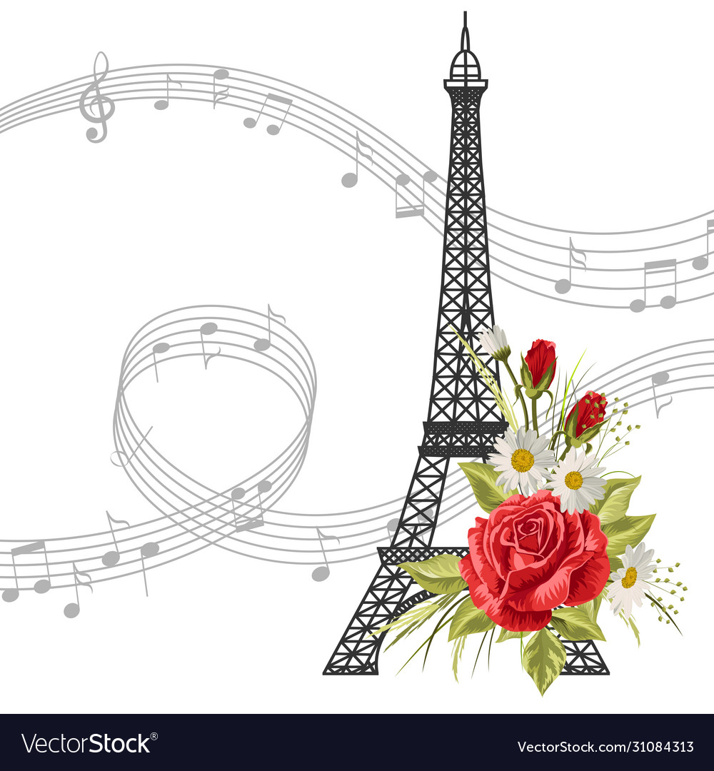 Eiffel tower with flowers and music notes isolated