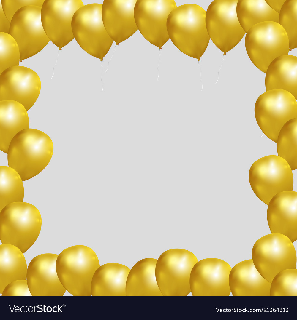 Festive frame with gold balloons