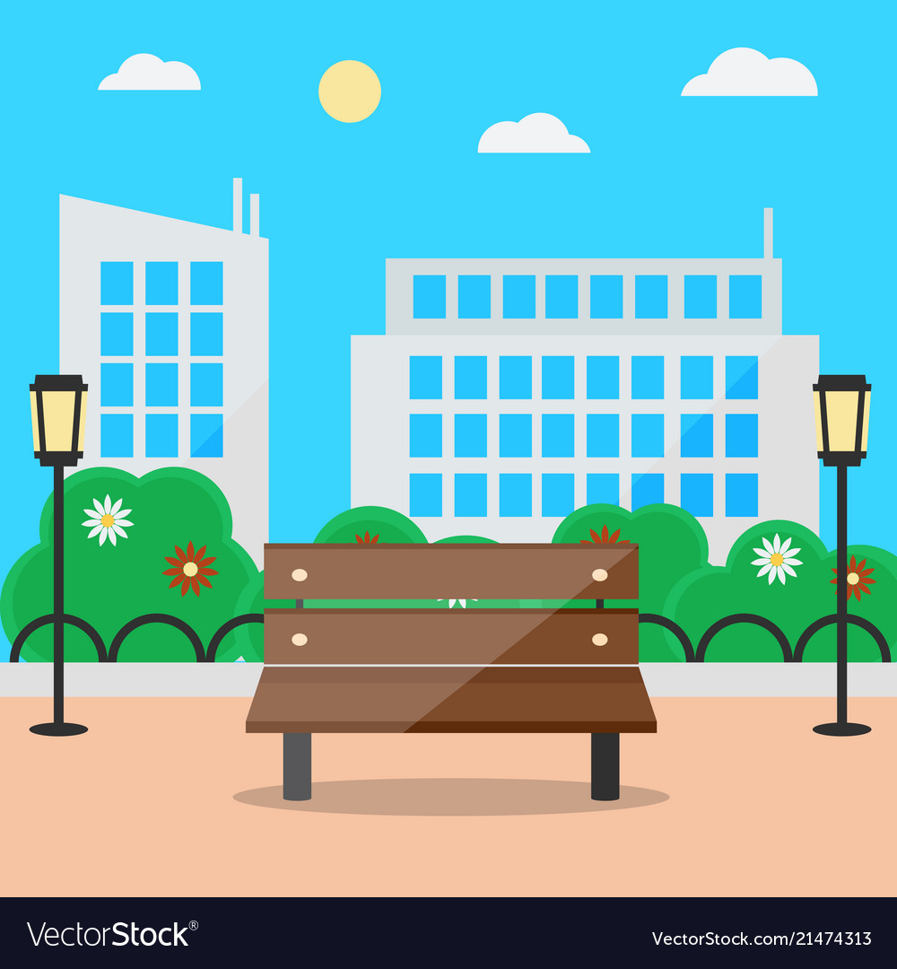 Flat style blooming summer cityscape with bench