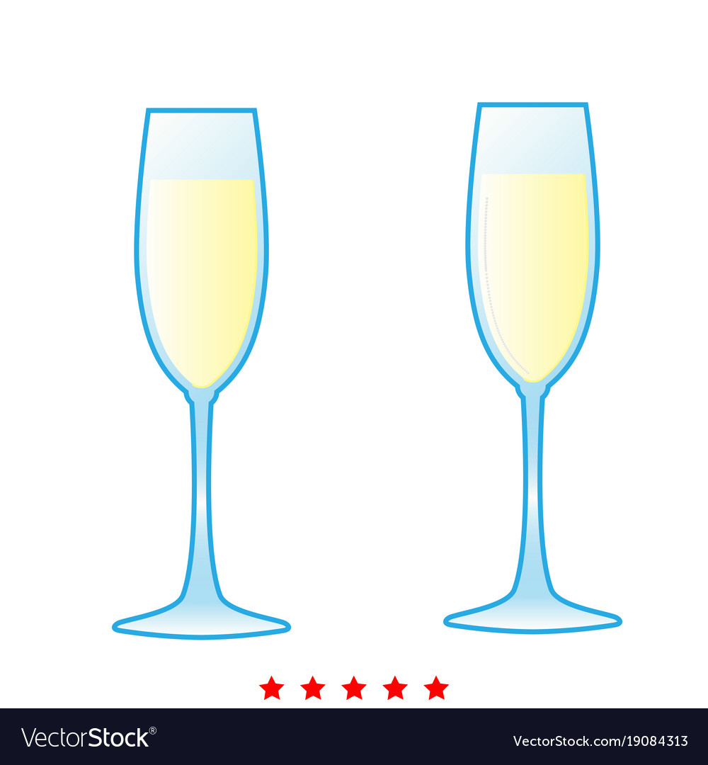 Glass of champagne icon different color