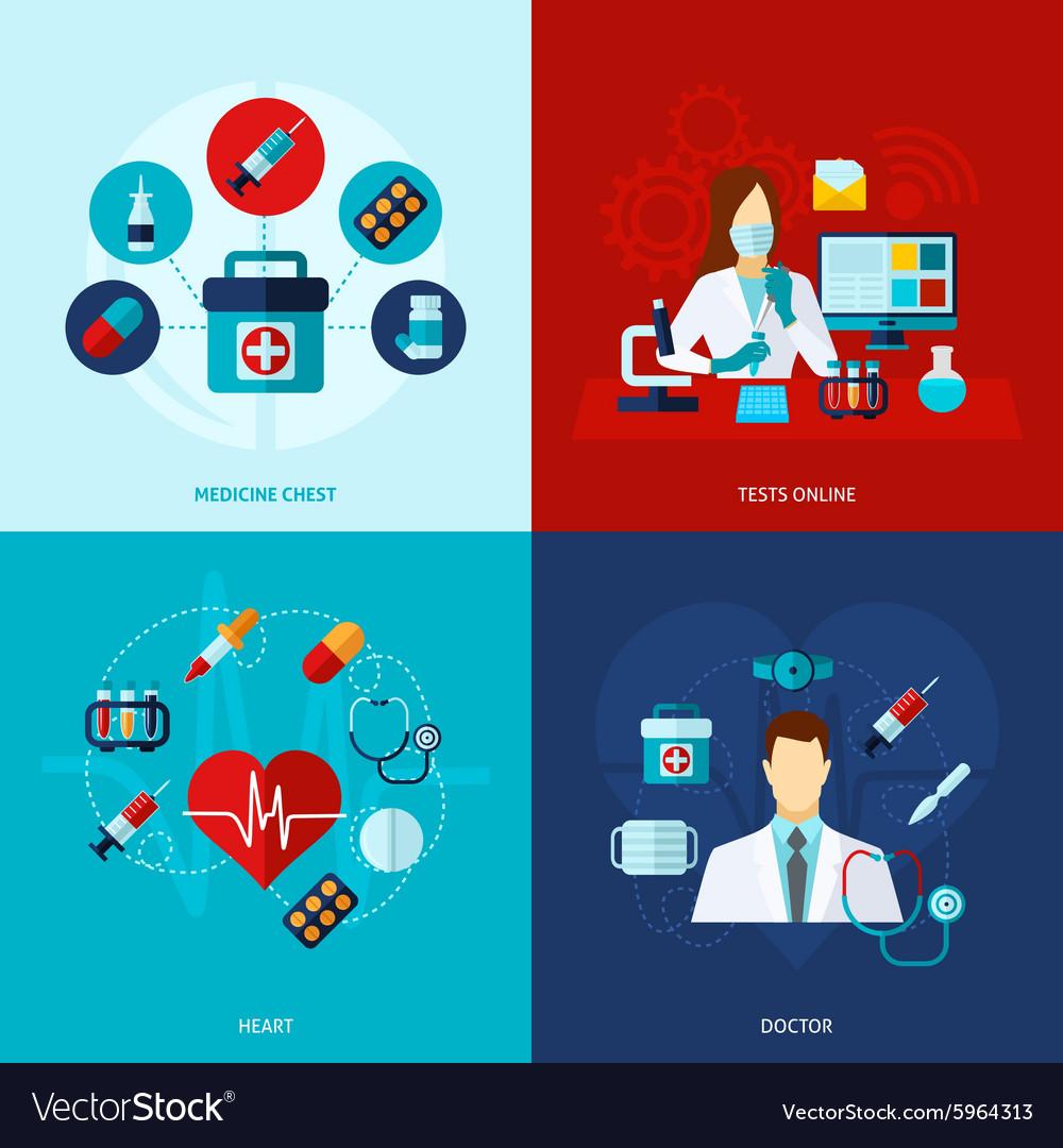Medical Flat Set vector image