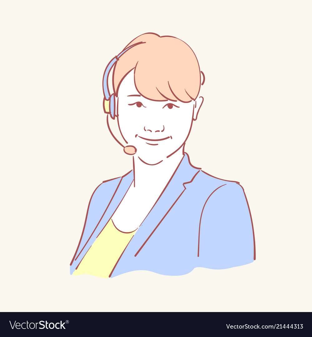 Online assistant support operator hand drawn style
