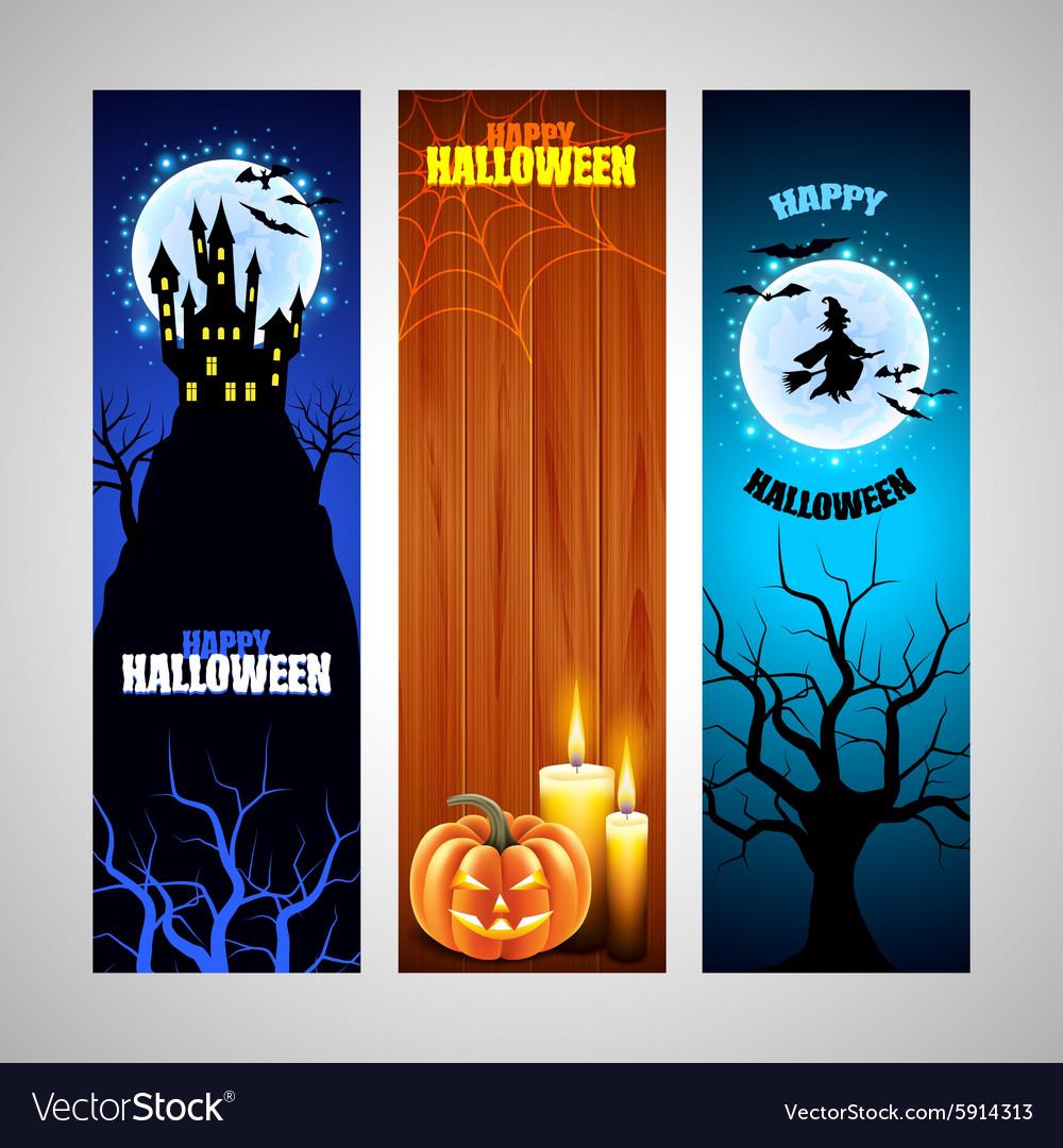 Three vertical Halloween banners