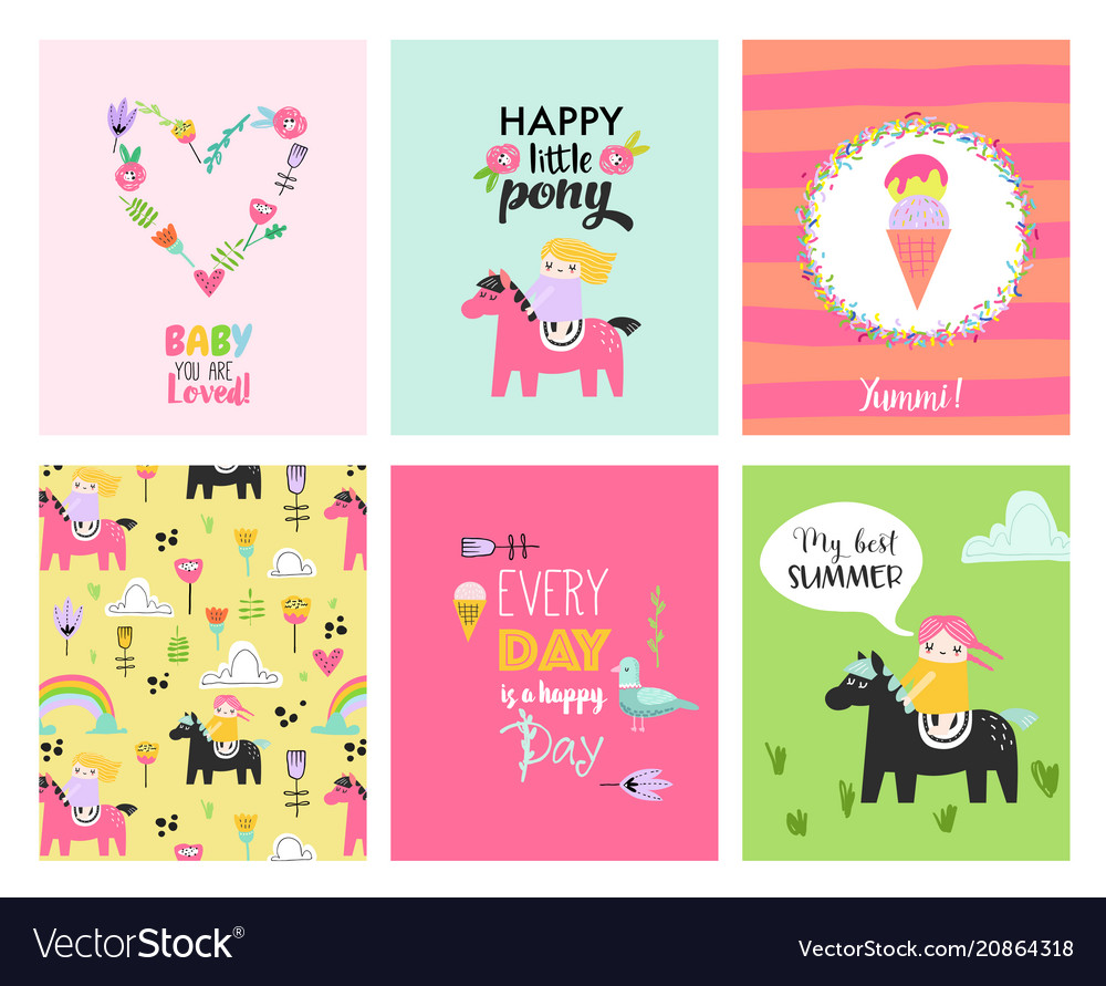 Baby cards with hand drawn girls on ponies