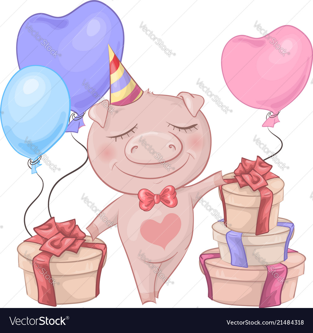 Birthday card with a cute cartoon piggy and a box