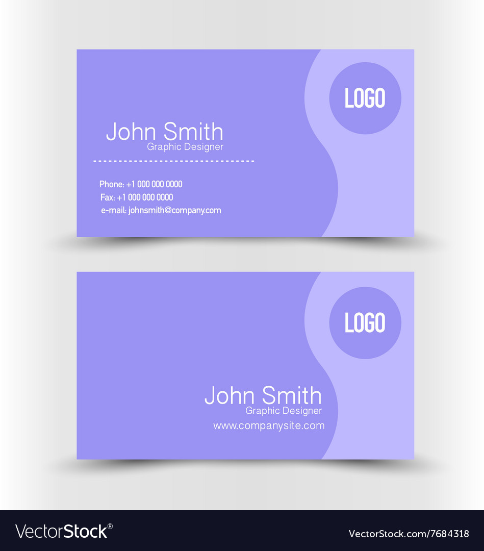 Business card set template Purple color Royalty Free Vector