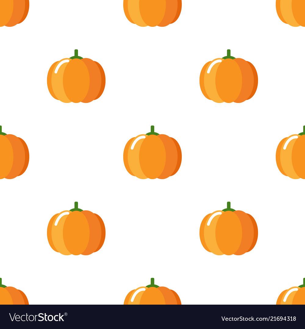 Cartoon cute pumpkin on white background seamless