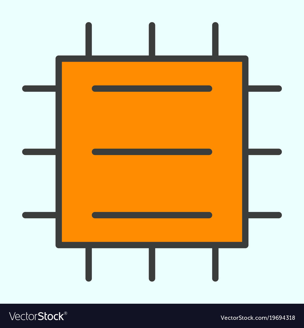 Central processor unit line icon cpu pictogram vector image