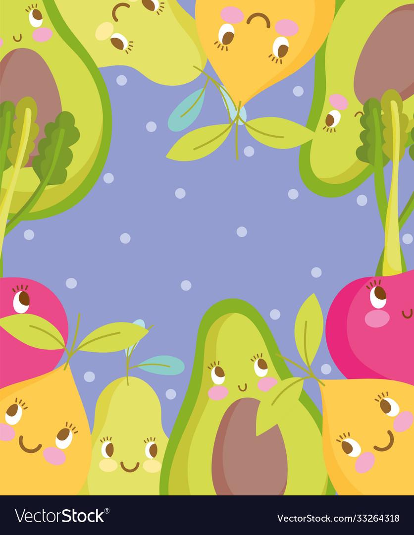 Cute food pattern design avocado pear cherry