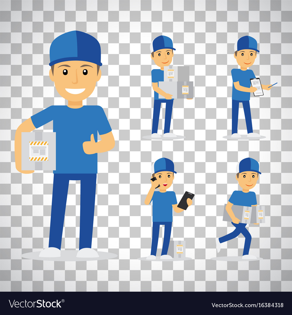 Delivery man on transparent background vector image
