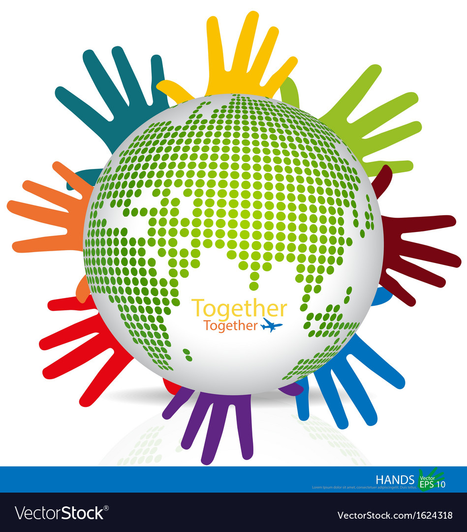 Dotted Globes with colorful hands vector image