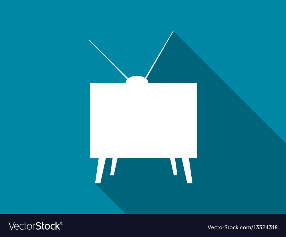 Retro tv flat icon with long shadow