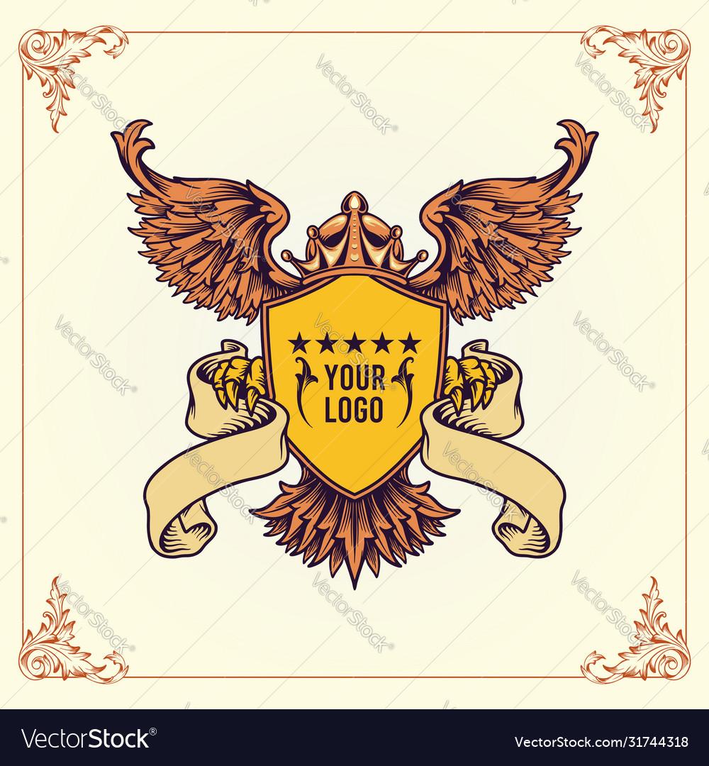 Royal badge winged crowns shield